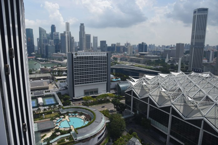 Looking out towards Marina Bay