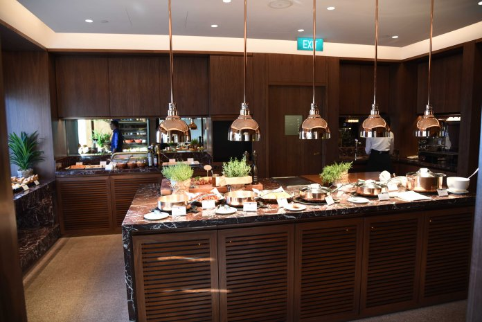 Club lounge breakfast buffet spread