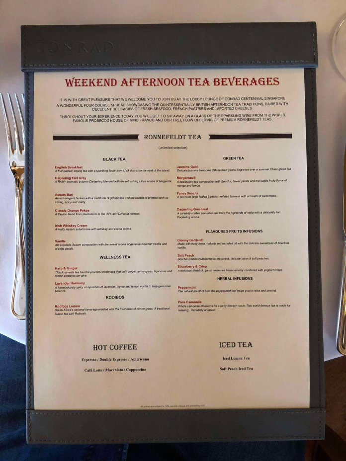 Weekend Afternoon Tea beverage menu