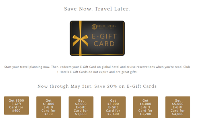 Club 1 hotels gift cards