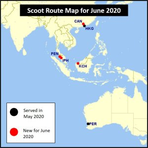 Scoot route map for June 2020