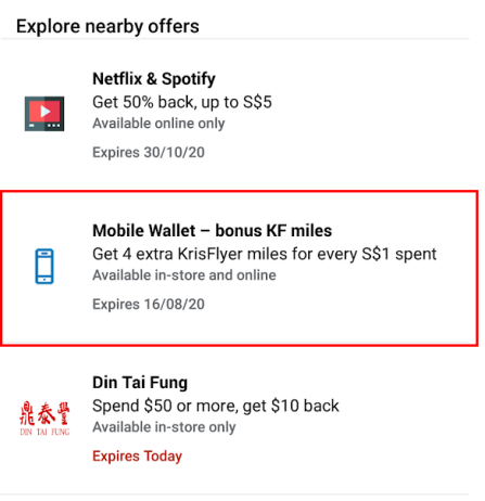 amex mobile wallet offer