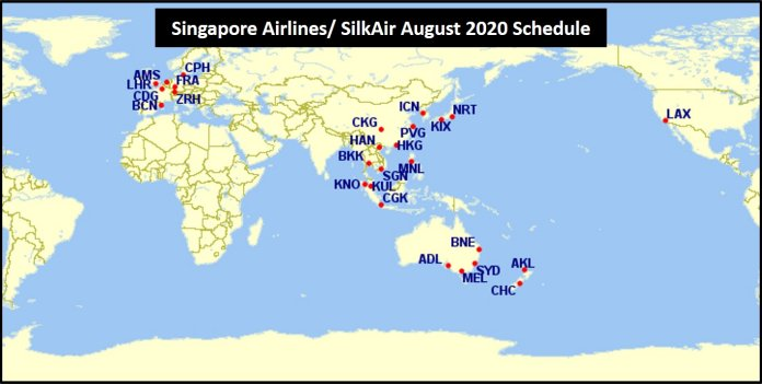 Singapore Airlines August 2020 schedule