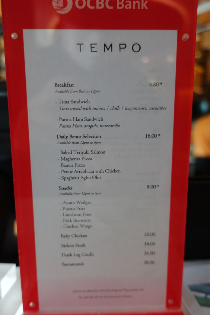 Grand Copthorne Singapore Co-working Space Food Menu