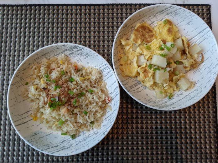 Fried rice and carrot cake