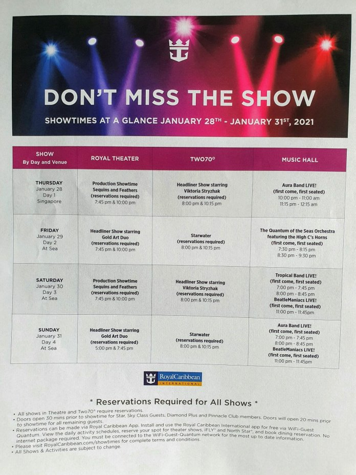 Quantum of the Seas show schedule