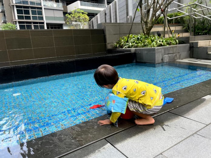 Toddler playing at Ascott Orchard baby pool