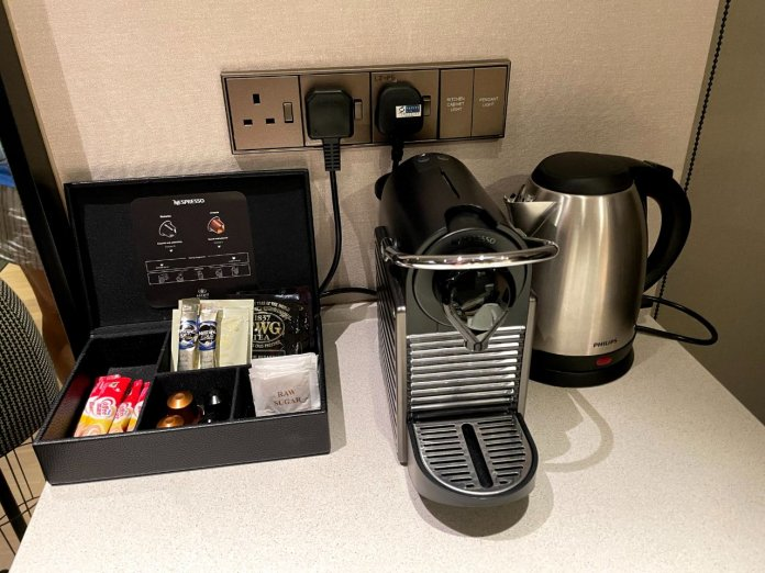 Ascott Orchard coffee machine and kettle
